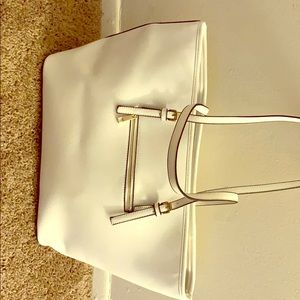 Over size white tote bag
